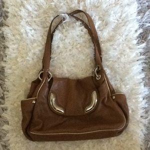 Genuine Leather Brown/Tan B. Makowsky Shoulder Bag